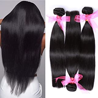 10A 3 Bundles Brazilian Virgin Straight Human Hair Extensions(14 16 18inches) Natural Black Unprocessed Brazilian Straight Hair Bundles Can Be Dyed