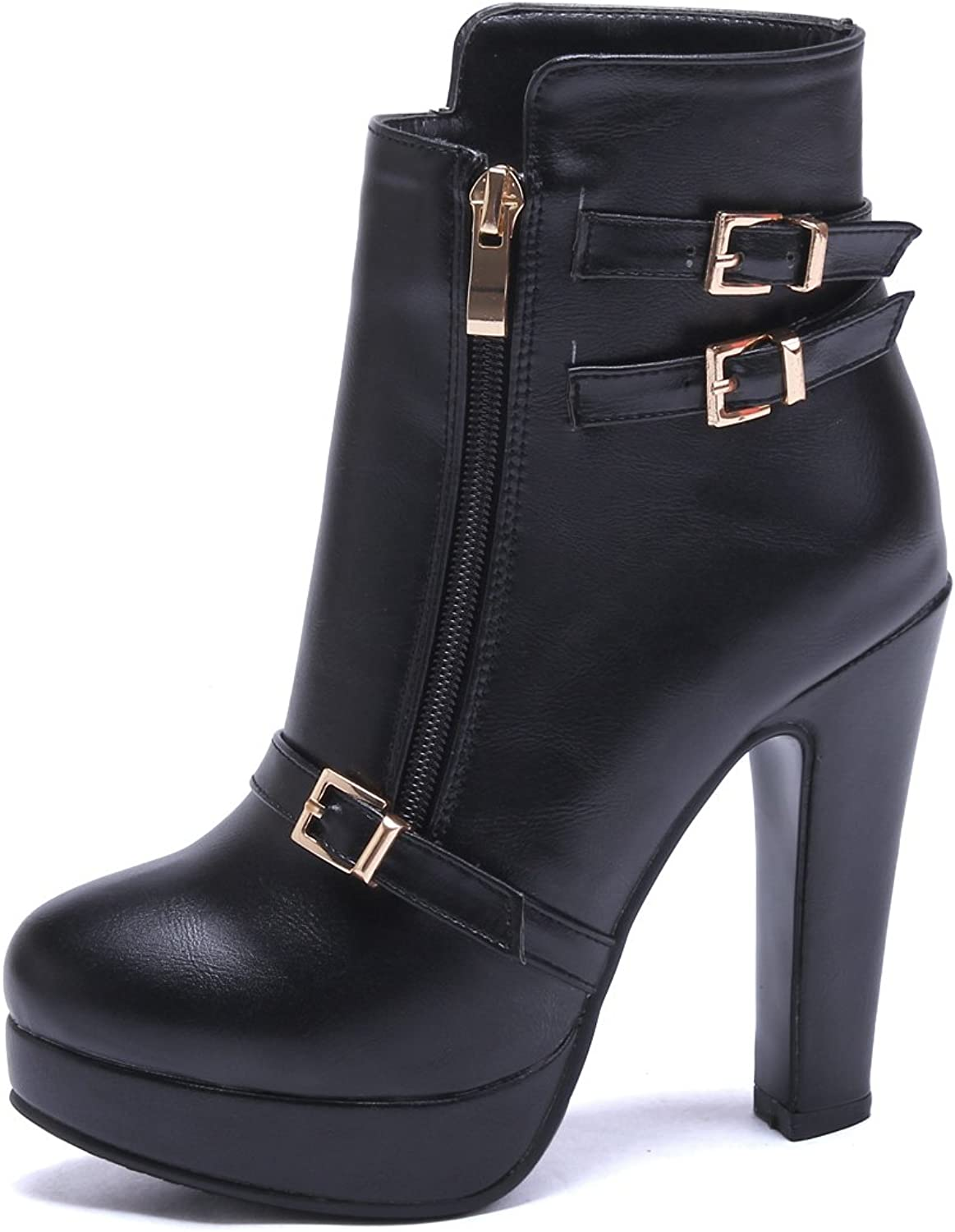 AIWEIYi Womens Buckles High Heel Ankle Boots Booties shoes Black