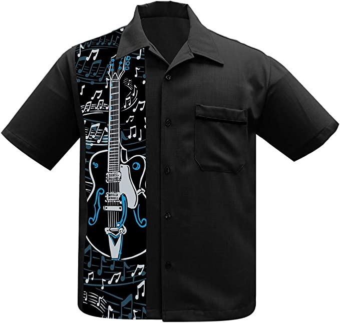 Men's Vintage Clothing | Retro Clothing for Men Steady Clothing Guitar Panel Button Up Music Band Bowling Lounge Shirt  AT vintagedancer.com