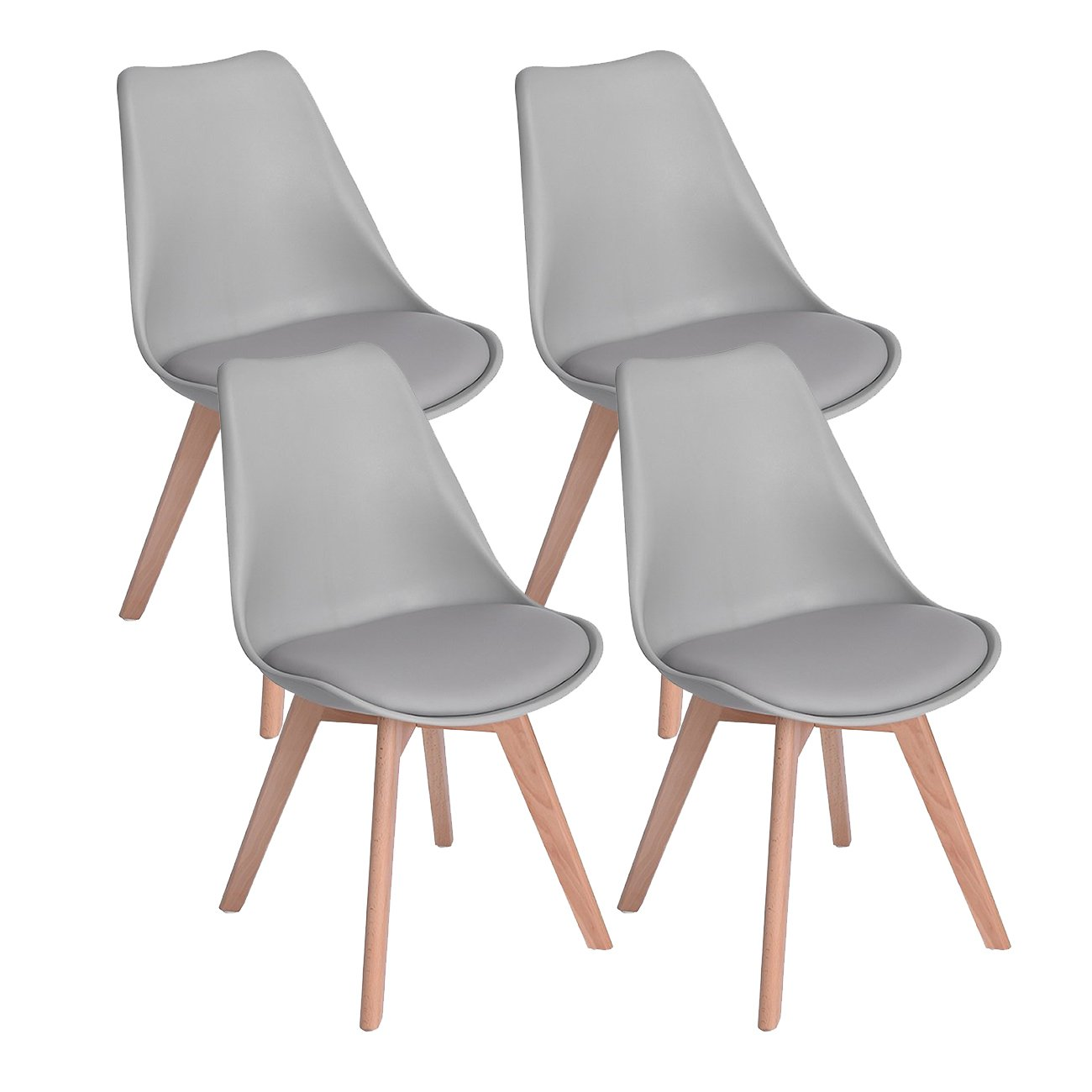 DORAFAIR Set of 8 Tulip Modern Design Dining Chairs Retro Lounge Chairs  With Solid Wood Beech Legs,Kitchen chairs With Padded Seat,Grey