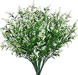 Flores artificiales de lavanda 6 piezas, realistas resistentes a los rayos UV arbustos falso ramo de arbustos verdes para iluminar tu hogar, cocina, jardín, decoración interior y exterior (blanco)