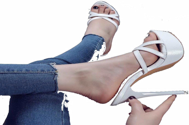 GTVERNH Damenschuhe Sommer Sexy 14 cm High Heels Dünn und Coole Schuhe Dicken Hintern Wasserdichte Plattform mit Schuhen Frauen.