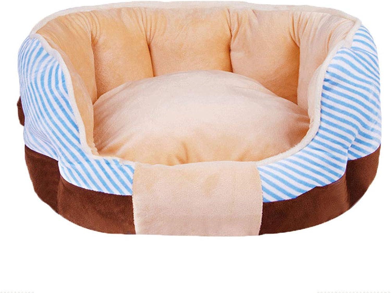 HN Pet Supplies Crystal Velvet Striped Pet Nest Warm Cat Litter Autumn And Winter Plush Kennel,bluee,M