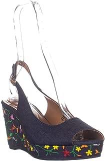 SC35 Sondire Wedge Slingback Sandals, Posie Denim