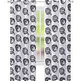YUAZHOQI Alcachofa Aislante Térmico Cortina de Granja Vegetales Alimentos Nutritivos y Deliciosos Veganos Opciones Negro y Blanco 132 cm x 241 cm Cortinas para Niñas Dormitorio Negro Blanco
