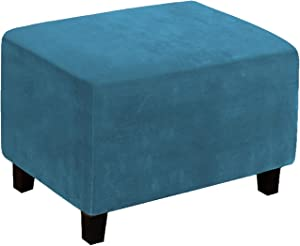 LiveGo Velvet Stretch Ottoman Cover,Removable Footstool Protector, Rectangle Folding Storage 1 Piece Water Repellent Furniture Protector with Elastic Bottom ,Machine Washable (Peacock Blue, XL)