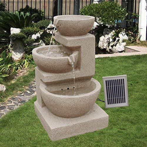 Wehmann Solarspringbrunnen Solarbrunnen Eden Garten Brunnen Kaskade Komplettset für Garten und Terrasse Tag und Nacht !