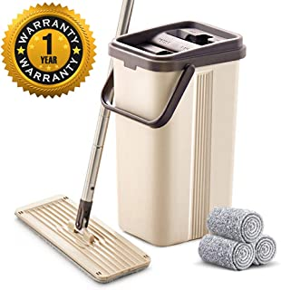 BOOMJOY Squeeze Flat Mop, 1 Bucket, Wet Dry Floor Cleaning Hand Free, 3 Reusable Mop Pads, Stainless Steel Handle