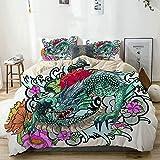 Funda nórdica beige, libro para colorear con tatuaje de dragón asiático a todo color, estilo japonés, juego de cama de microfibra impresa de calidad de 3 piezas, diseño moderno con suavidad y comodida