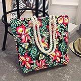 N / A Fashion - Bolso de mano plegable para mujer, tamaño grande, estampado de flores, lona de grafiti, para playa, como se muestra