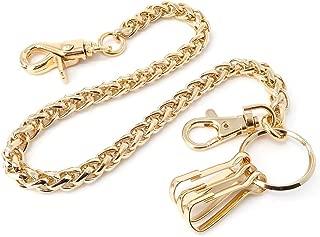 Wallet Chain for Men & Women Biker Trucker Motorcycle Pants Jean Keychain, Black Gold Silver 17