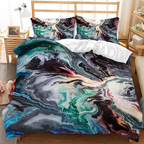 BBUY Juego de ropa de cama de 220 x 240 cm, textura de mármol, 3D, abstracto y moderno, con textura de mármol líquido, funda de edredón azul y rosa, con funda de almohada (patrón 9,220 x 240 cm)