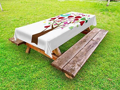 ABAKUHAUS Liefde Tafelkleed voor Buitengebruik, Hartjes en vogels Boom van de Bloesem, Decoratief Wasbaar Tafelkleed voor Picknicktafel, 58 x 84 cm, Wit en Multicolor
