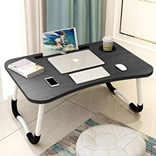 Laptop Desk, Portable Laptop Bed Tray Table Notebook Stand Reading Holder with Foldable Legs & Cup Slot for Eating Breakfa...