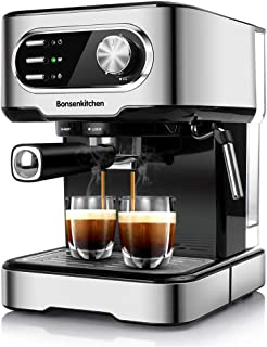 Espresso Machine 15 Bar Coffee Machine With Foaming Milk Frother Wand, 1450W High Performance No-Leaking 1.25 Liters Removable Water Tank Coffee Maker For Espresso, Cappuccino, Latte, Machiato, For Home Barista-BZ-US-CM