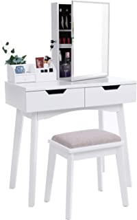 BEWISHOME Vanity Set White Makeup Table Cushioned Stool, Lockable Jewelry Storage Cabinet with Mirror Dressing Desk Armoire Organizer, 2 Sliding Drawers, FST04W