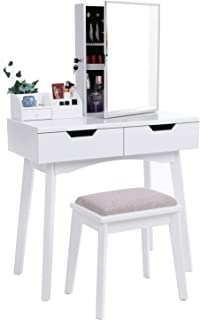 BEWISHOME Vanity Set White Makeup Table Cushioned Stool, Lockable Jewelry Cabinet with Mirror Dressing Desk Armoire Organizer, 2 Sliding Drawers, FST04W