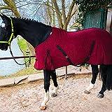 Manta para caballo con correa cruzada para caballos y ponis, transpirable, de forro polar, para secado rápido y calentamiento (burdeos, 125 cm)