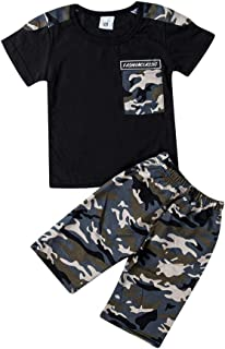 Toddler Baby Boy Camo Outfits Hooded Sweatshirt Pullover +Camouflage Pants Clothes Set