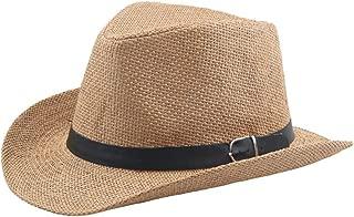 CHENDX High Quality Hat, Suumer Women Men Straw Cowboy Hat Church Jazz Hat Fashion Wide Open Breathable Straw Hat Sombrero Cap (Color : Khaki, Size : 56-58CM)