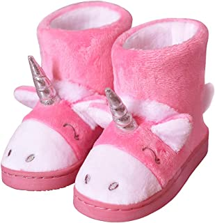 LA PLAGE Girls Cute Unicorn Bootie Slippers Socks Winter Warm Plush Comfy Bedroom Bootie Slippers(Toddler/Little Kid)
