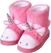 LA PLAGE Girls Cute Unicorn Bootie Slippers Socks Winter Warm Plush Comfy Bedroom Bootie Slippers(Toddler/Little Kid)
