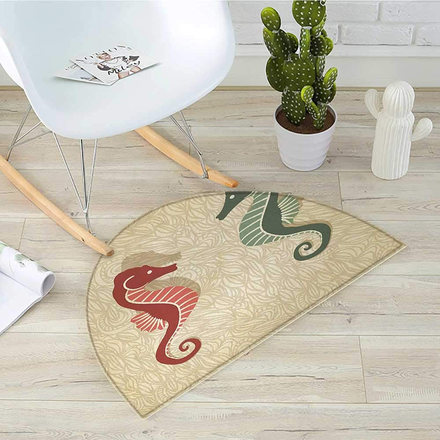 Seahorses Nautical Semicircular CushionGraphic colorful Beach Coral Reef Vintage Design Entry Door Mat H 31.5  xD 47.2  Sand Brown Forest Green Red