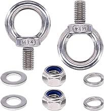 Swpeet 8Pcs 304 Stainless Steel M14 Male Thread Lifting Ring Eye Bolt Kit, Including 2Pcs M14 Eye Bolt with 2Pcs Lock Nuts, 2Pcs Lock Washers and 2Pcs Flat Washers