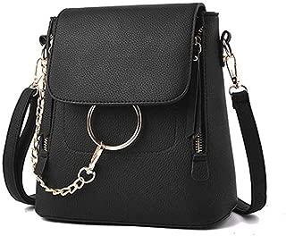Fashion Leather Ring Backpack for Women, Designer Mini Chain Shoulder Bag Crossbody Backpack