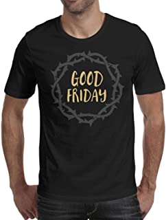Men's Good Friday Crown Round Neck T-Shirts,Summer Casual Short Sleeve Tee