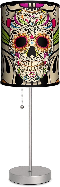 Lamp-In-A-Box SPS-VAR-SKPUR Various-Sugar Skull Silver Sport Lamp, 7  x 7  x 20