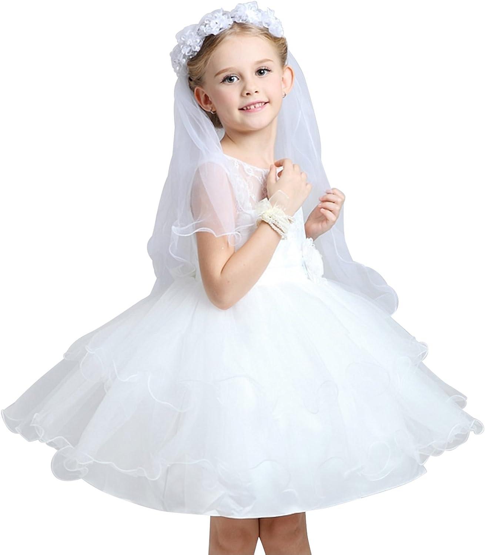 Girls 2 Tier First Communion Wedding Flower Pearls Party Veil