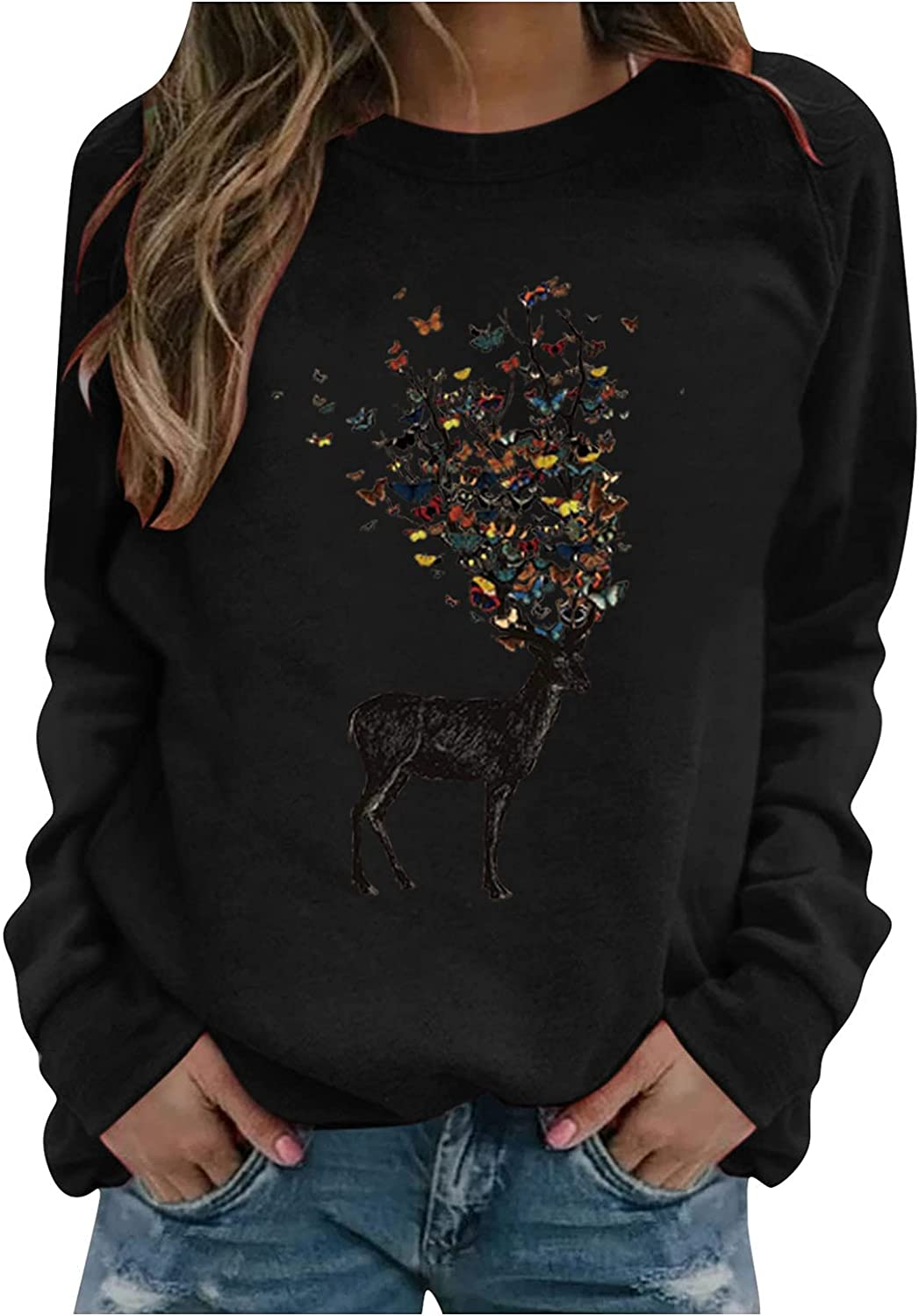 Jaqqra Sweatshirts for Women Crewneck Graphic Long Sleeve Vintage Printed Casual Loose Pullover Sweaters Shirts Tops