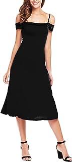 ANGVNS Women's Off Shoulder Square Neck Split Hem High Waist Pleated Dress