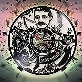 fdgdfgd Classic CD Record Barber Shop Reloj de Pared de Vinilo Retro de Moda de peluquería | Decoración única para el hogar