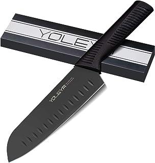 YOLEYA Santoku Messer 7 inch Hohe Carbon-Edelstahl,extrem scharf japanische Messer,Kochmesser mit Schwarz Antihaftbeschichtung Rostfreie,Küchenmesser mit ergonomisch geformter Griff