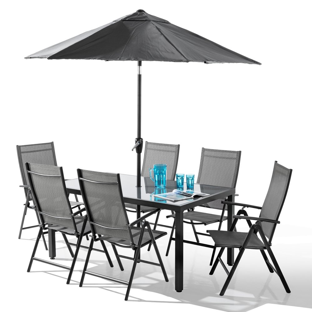 6 seater garden table and chairs amazon co uk rh amazon co uk patio table 6 chairs glass patio table 6 chairs