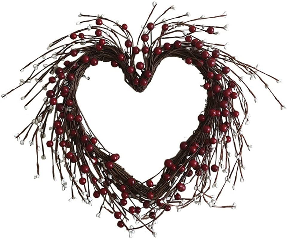 WODMB 16-inch Artificial Red Berries Be super welcome Heart-Shaped Year-end gift Garland White