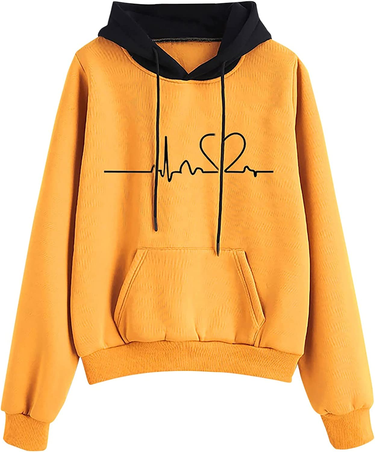 Xinantime Women Pullover Sweatshirt Sports Suit Long Sleeve Patchwork Hoodie Blouse Graphic Print Tunics with Pocket Jumper