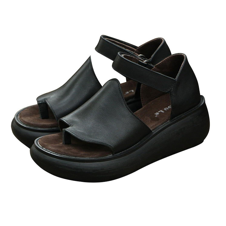 カタログ休み視線[Maysky] 大きいサイズ サンダル 6cmヒール ウェッジソール 本革 軽量 コンフォート 4E マジックテープ 婦人靴 レディース