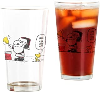 CafePress Santa Snoopy And Woodstock Pint Glass, 16 oz. Drinking Glass