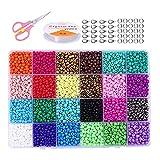 Hanbee Cuentas de Colores para Los niños 12000 Piezas 3mm Mini Cuentas y Abalorios Cristal para DIY Pulseras Regalo Collares Bisutería (24 Colores)