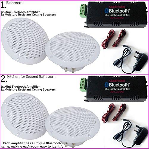 4x 80W Küche/Badezimmer Deckenleuchte Lautsprecher &/Bluetooth/Wireless AMP KIT–Multi-Room-Dusche HiFi Music System/Player–2, Twin, Dual Zone unempfindlich gegen Feuchtigkeit Audio–Cablefinder