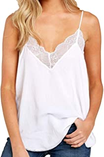 Women Halter Tank Tops Lace Crochet V Neck Strappy Loose Camisole Vests Shirt