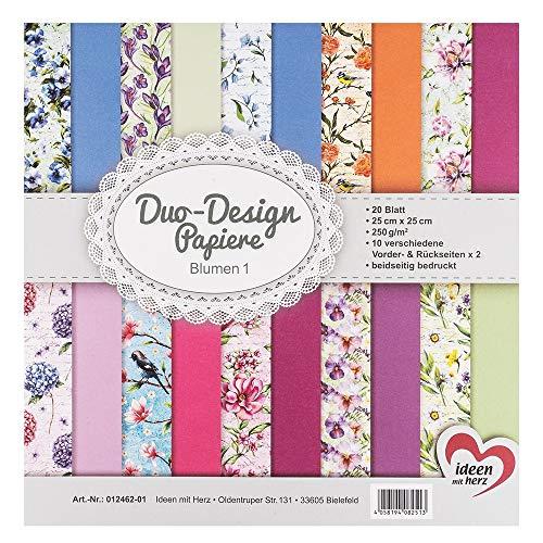 Ideen mit Herz Duo-Design-Papiere | Block mit 20 Blatt Bastelpapier | 25 x 25 cm | 250g/m² | beidseitig Bedruckt | Designpapier, Motivpapier | ideal für Scrapbooking, Basteln (Blumen 01)