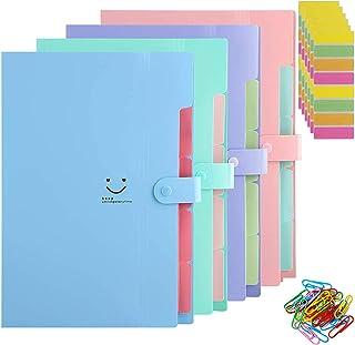 Trieur A4 range document 4 Pièces Classeur Rangement 5 Compartiments, Chemise Papier Administratif, Documents Organiseur d...
