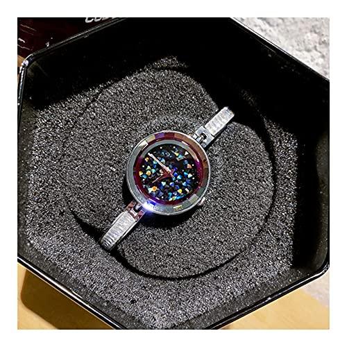 Relojes De Pulsera para Mujeres Correa De Reloj Gypsophila Compacta Versátil Movimiento De Cuarzo Simple Vidrio Reforzado con Minerales Correa De Acero Espejo Reloj De Mujer (Color : Silver)