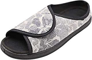 MEJORMEN Womens Diabetic Slippers House Shoes Adjustable Sandals Open Toe Slip On Comfortable for Elderly Woman Edema Arthritis Swollen Feet
