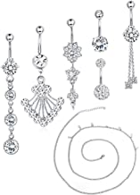 Udalyn 6-8 Pcs 14G Belly Burron Rings Stainless Steel Navel Rings for Women Body Piercing Jewery Set with Waist Chain