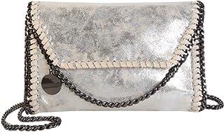 AiSi Leder Handtasche mit Kette, Lässig Stil Handtasche, Metallic Umhängetasche mit Kette